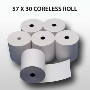 CBE Coreless Credit Card Roll 57 x 30 (Box of 20 Rolls)