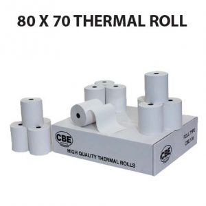 80×70 CBE Thermal Till Roll  (Box of 20 Rolls)